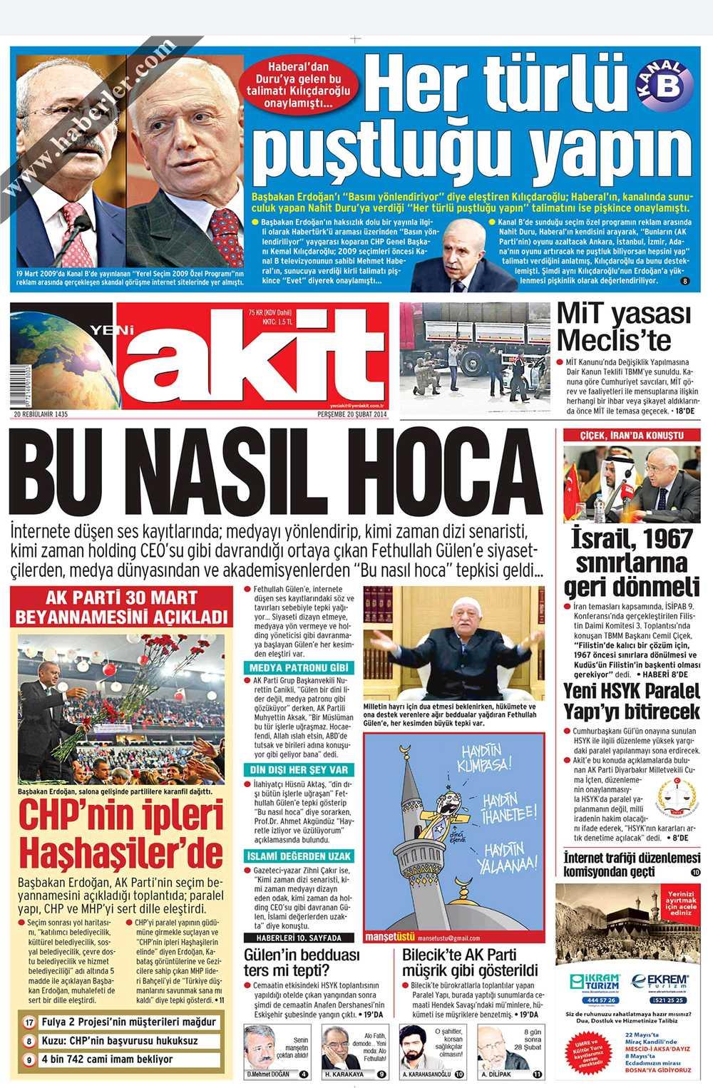 20 Ubat 2014 Akit Gazetesi Maneti