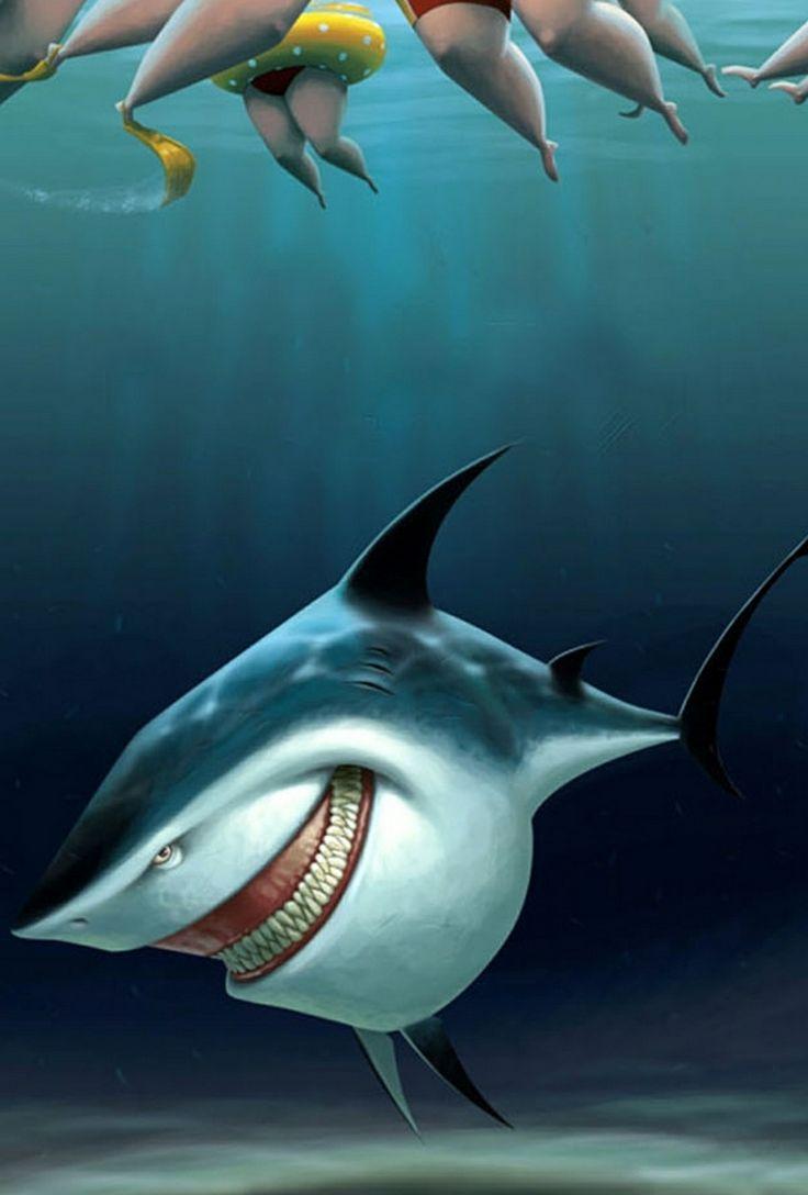 Смешной рисунок акулы